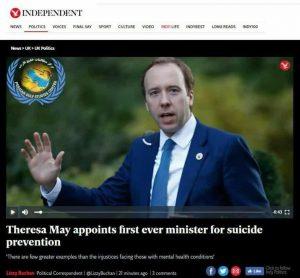 """ترزامی نخست وزیر سابق انگلیس در سال ۲۰۱۸ میلادی، نخستین وزیر """"پیشگیری از خودکشی"""" در جهان را انتخاب کرد!"""