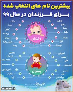 بیشترین نامهای انتخاب شده برای فرزندان در سال ۹۹
